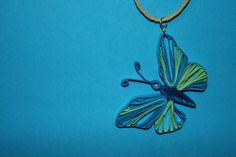 Green and blue butterfly pendant in paper by Papersing on Etsy