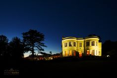 Deer Park hotel lit up at night for summer wedding. Great country house wedding venue in Devon Country House Wedding Venues, Wedding Venues Uk, London Photography, Wedding Photography, Exeter Devon, Deer Park, Church Ceremony, Relaxed Wedding, Park Hotel