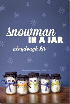 Snowman in a Jar (Snowman Playdough Recipe) - fun kids activities for Christmas or winter plus this would make a really cool gift kids can make themselves!