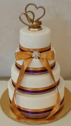 Wedding Cake - 4 tier - White Velvet Cake - Gold and Purple ribbons