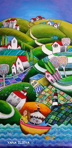 naive paintings from Yana Ilieva Art Village, City Folk, Funky Art, Landscape Quilts, Arte Popular, Country Art, Art Themes, Colorful Paintings, Naive Art
