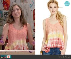 Riley's orange tie dyed tank top on Girl Meets World.  Outfit Details: https://wornontv.net/51267/ #GirlMeetsWorld