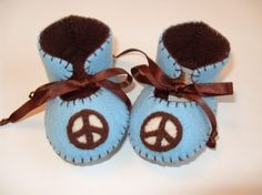 Peace Sign Baby Boy Booties Baby First Shoes Baby by funkyshapes.