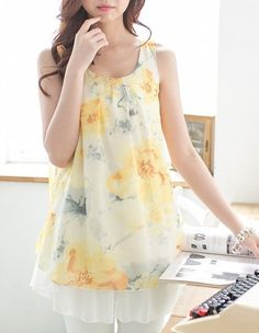 Perfectly summery! Maternity and nursing top in yellow chiffon