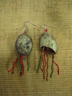 handmade jewelry - earings made of silkworm cocoons