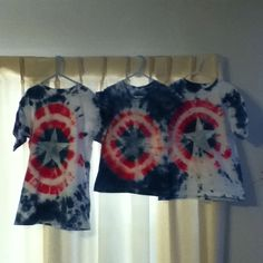 Captain America tie dye shirts for the 4th of July!!