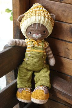 Clothes toy crochet pattern PDF Outfit for Bunny Cat Dog Toys - Outfit Farmboys Easter Crochet Patterns, Amigurumi Patterns, Amigurumi Doll, Crochet Bear, Crochet Animals, Diy Crochet, Crochet Doll Clothes, Crochet Dolls, Cat Decor