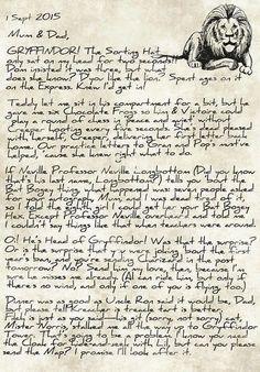 James' letter home after being sorted into Gryffindor -- part 1