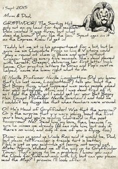 James' letter home after being sorted into Gryffindor -- part 1  I love that he's called his broomstick Charizard!