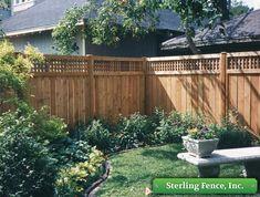 wood with lattace privacy fence Privacy Fence Designs, Privacy Fences, Fencing, Lattice Privacy Fence, Backyard Pergola, Backyard Landscaping, Metal Pergola, Outdoor Pergola, Pergola Shade