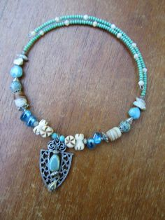Summer Tribal Choker Necklace with Bone, Glass, and Stone Beads. $22.00, via Etsy.