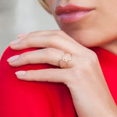 From Lilou with love - a ring with interlaced two hearts, available in 23k gold-plated and 925 silver. #lilou #two #interlaced #hearts #goldplated