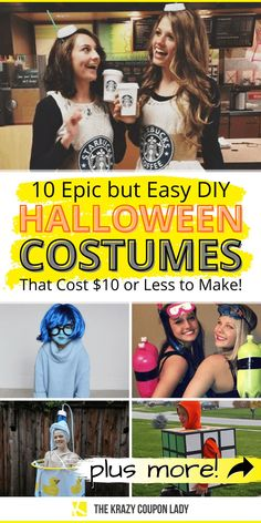 Looking for a cheap, quick DIY Halloween costume? Nobody wants to spend a bunch of money on a Party City costume that you'll probably only wear once. That's just silly. These easy Halloween costumes are all DIY and you probably have most of the stuff you need already. Check some of these epic, totally doable Halloween costume ideas that cost less than $10 served up by The Krazy Coupon Lady. #diyhalloweencostumes #halloweendiy #halloweencostumes Diy Halloween Games, Cheap Halloween Costumes, Halloween Projects, Halloween Decorations, Halloween Party, Halloween Desserts, Halloween Nails, Halloween Makeup, Halloween Office