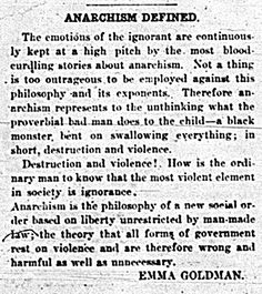 Emma Goldman: Anarchism defined