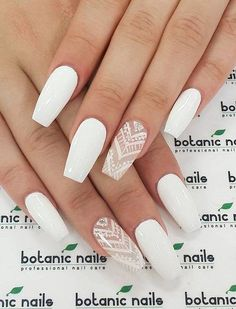 White coffin shaped nails