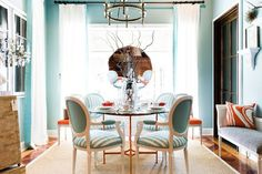 Turquoise and coral dining room