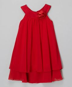 Look what I found on #zulily! Red Rose Yoke Dress - Toddler & Girls by Kid's Dream #zulilyfinds