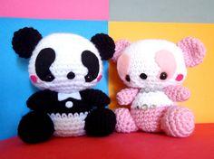 Couple Panda Crochet Plush Doll / Handmade Gift for Valentine / Couples Gift / wedding gift / Birthday gift / Gifts for her. $85.00, via Etsy.