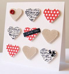 Personalised Handmade 9 Hearts Valentine's Card