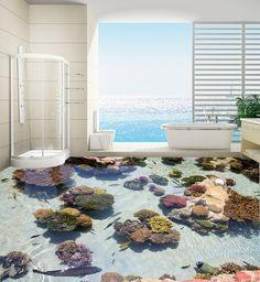 Украсить свой дом двери обои фрески 3d рыбы и камень пол в ванной комнате большой размер пвх водопад цветы настроить