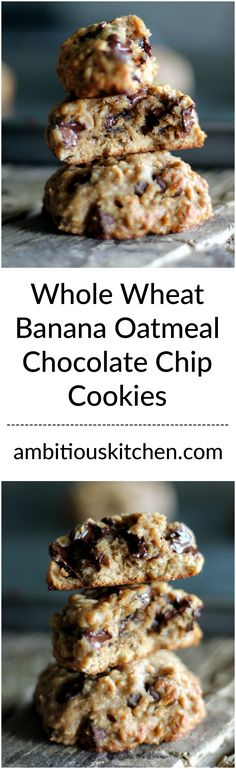 Delicious whole grain banana oatmeal chocolate chip cookies! Simple, delicious and dairy free!