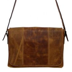 Leather laptop case, 'Bohemian VIP' - Distressed Brown Leather Boho Style Laptop Case with Pockets