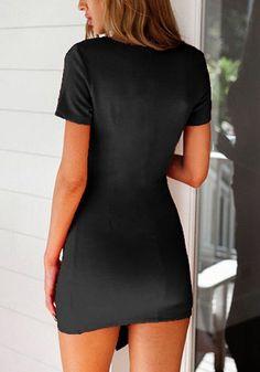 Black Plain Irregular Plunging Neckline Mini Dress