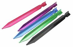 Amgate 8 PCS Aluminum Tent Stakes Random Color *** See this great product.
