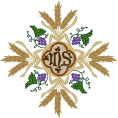 Vintage Ecclesiastical Cross Design 902 Embroidery Design. Grapes and wheat, two ancient Christian symbols, present a powerful and timeless message in this gorgeous IHS cross design.