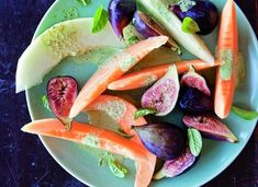 Melon & Fig Salad with Basil Cream Recipe