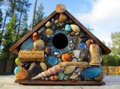 Tropical Mosaic Birdhouse by WinestoneBirdhouses on Etsy. ~ Really like the shells!