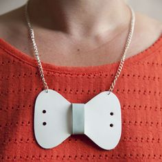 Recycled Leather Bow Tie Necklace - White & Aqua by www.girlwithbeads.co.uk