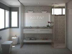 #Render de un baño para #habitacion de #matrimonio   #bathroom #bedroom #white #design