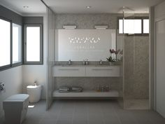 #Render de un baño para #habitacion de #matrimonio | #bathroom #bedroom #white #design