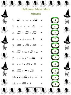 TEN Rhythm Worksheets with a Halloween theme  Each worksheet has an ANSWER sheet provided.    $