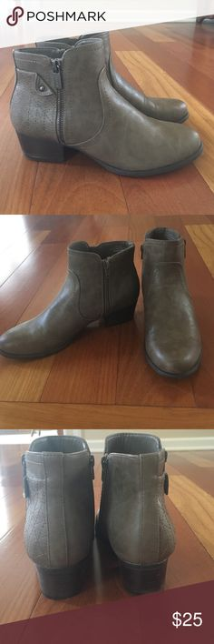 Unisa Heeled Booties These booties are new and have never been worn. I just tried them on. They are perfect for the fall. They are a light brown/gray mushroom color. Unisa Shoes Ankle Boots & Booties