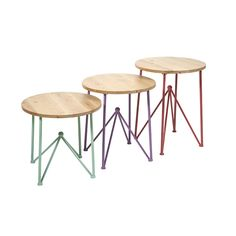 Check out the Imax Worldwide Alice Metal and Wood Accent Table - Set of 3 End Table Sets, Wood End Tables, Sofa Tables, Wood Table, Table Furniture, Modern Furniture, Outdoor Furniture, Home Decor Online, Wood Accents