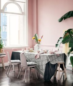 Millennial pink kitchen with tropical accents