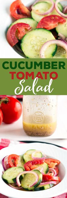 Cucumber Tomato Salad - Easy summer salad with fresh ingredients. Mixes up in minutes, healthy and tasty!