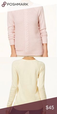 Karen Scott, Cable Knit Sweater Color: Tea Rose Mari  Product Details:  A traditional cable-knit sweater gets a modern makeover from Karen Scott. It features a cable-knit detail in the front for a more streamlined look.   - Crew Neckline - Cable-Knit detail at center - Easy fit; mid weight - Hits at hip - Cotton/Acrylic  - Machine Washable Karen Scott Sweaters Crew & Scoop Necks