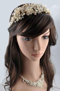 Vintage Bridal Wedding Ivory Cream Gold Pearl Swarovski Crystal Flower Hairband Tiara by TheCrystalShoeCo on Etsy https://www.etsy.com/uk/listing/162962976/vintage-bridal-wedding-ivory-cream-gold