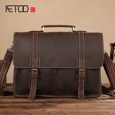 AETOO Retro mad horse leather men 's handbag shoulder bag leather casual briefcase first layer cowhide business computer bag