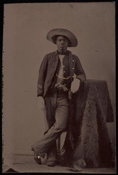 BUFFALO SOLDIER A studio portrait of an unidentified African American soldier posing with buffalo hide. ca. 1860-1880. Yale Collection of Western Americana, Beinecke Rare Book and Manuscript Library.    http://blackhistoryalbum.tumblr.com/post/46186406306/buffalo-soldier-a-studio-portrait-of-an
