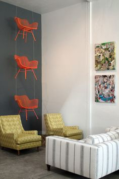 Hanging chairs vertical up a lofted wall would be awesome for extra guest seating.
