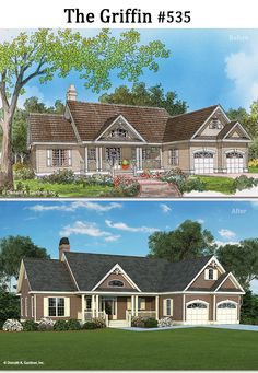The Griffin #535 gets a modern makeover! http://www.dongardner.com/house-plan/535/the-griffin. #BeforeAfter #HomePlan #Rendering