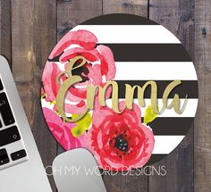 Personalized Mouse Pad-Round Mouse Pad-Flowers and Stripes-Desk Accessories-Watercolor Flowers-Round Mouse Pad-Shabby Chic Mouse Pad Word Design, Baby Design, Christmas Wishes, Christmas Gifts, Baby Name Signs, Baby Names, Diy Wreath, Wreaths, Remodels And Restorations