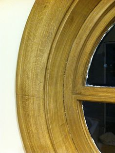 Close up view of the finish, an impressive match for the RH weathered oak finish.