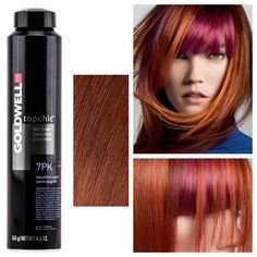 """Goldwell describes 7PK as """"beautified copper."""" It's a warm red-orange tone with an periwinkle overlay that creates a pink glow. Applied over pre-lightened hair this color provides a magenta hue bec..."""