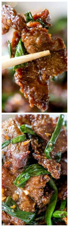 Mongolian Beef ~ Easy to make in just 30 minutes, crispy, sweet and full of garlic and ginger flavors you love from your favorite Chinese restaurant. #chinesefoodrecipes