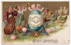 Easter Postcard Boys Playing Musical Instruments Dancing Chickens &…